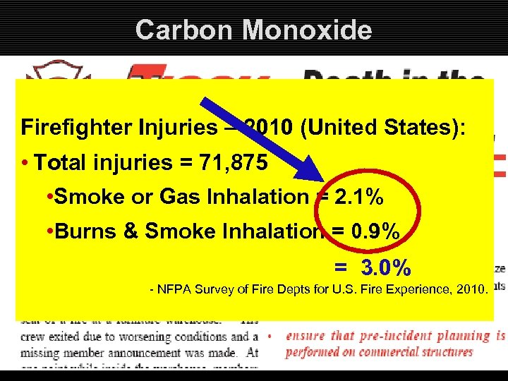 Carbon Monoxide Firefighter Injuries – 2010 (United States): • Total injuries = 71, 875
