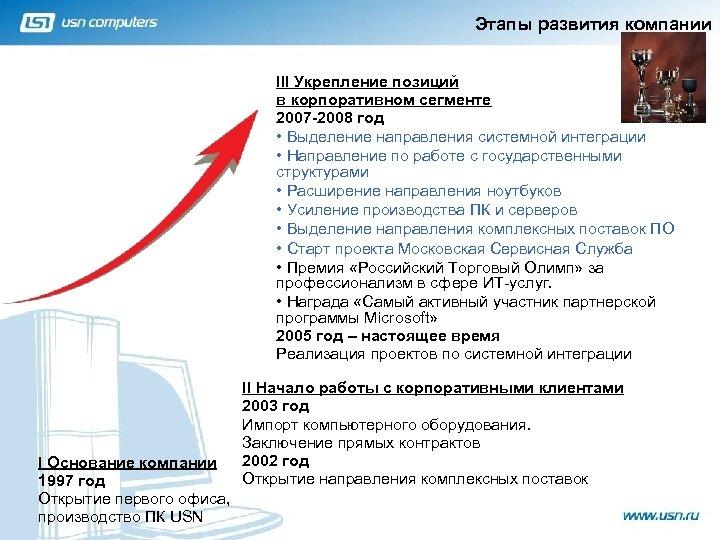 Этапы развития компании III Укрепление позиций в корпоративном сегменте 2007 -2008 год • Выделение