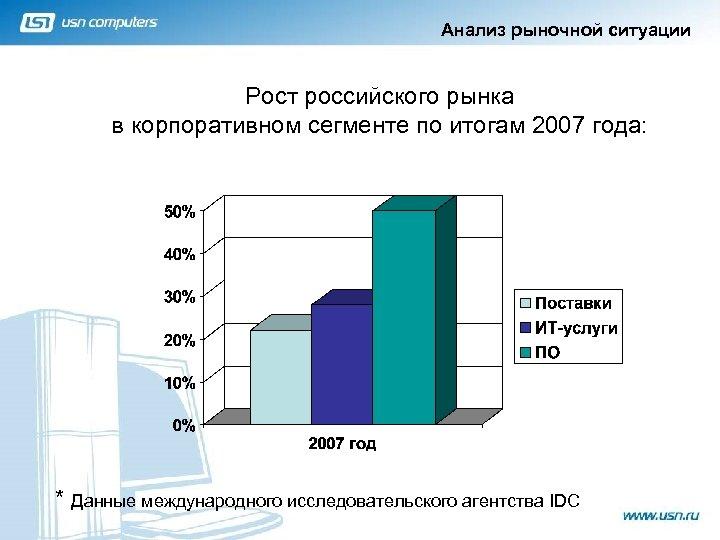 Анализ рыночной ситуации Рост российского рынка в корпоративном сегменте по итогам 2007 года: *