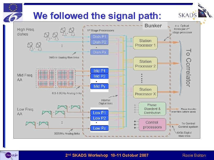 We followed the signal path: 2 nd SKADS Workshop 10 -11 October 2007 Rosie