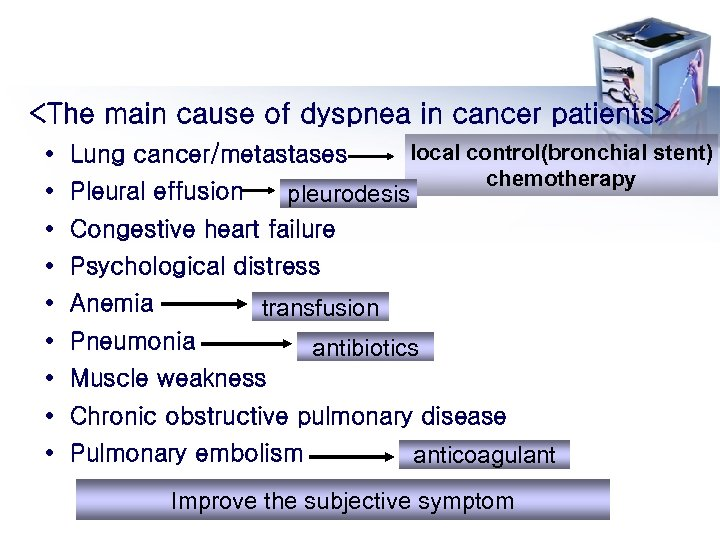 <The main cause of dyspnea in cancer patients> • Lung cancer/metastases • Pleural effusion
