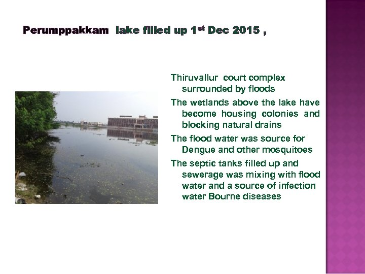 Perumppakkam lake filled up 1 st Dec 2015 , Thiruvallur court complex surrounded by