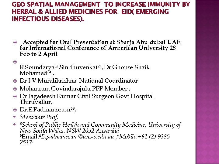 GEO SPATIAL MANAGEMENT TO INCREASE IMMUNITY BY HERBAL & ALLIED MEDICINES FOR EID( EMERGING