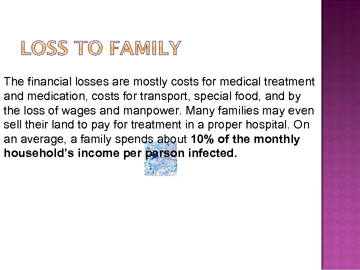 The financial losses are mostly costs for medical treatment and medication, costs for transport,