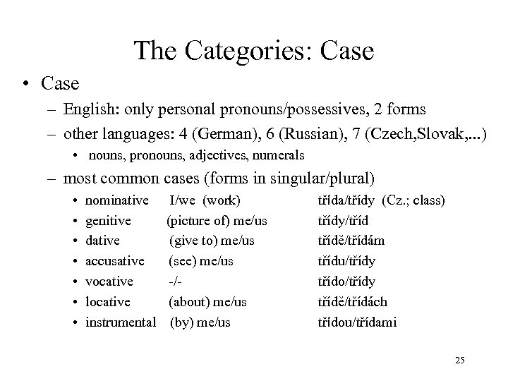 The Categories: Case • Case – English: only personal pronouns/possessives, 2 forms – other