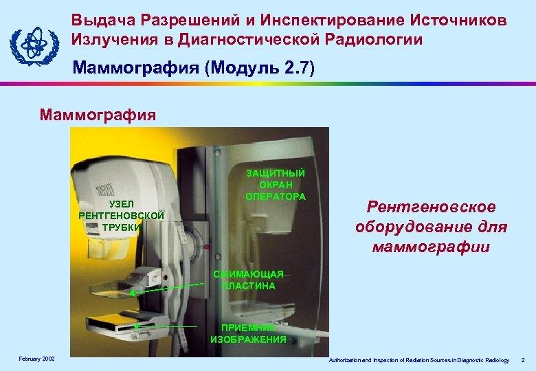 Выдача Разрешений и Инспектирование Источников Излучения в Диагностической Радиологии Маммография (Модуль 2. 7) Маммография