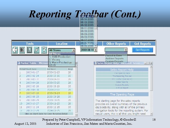 Reporting Toolbar (Cont. ) August 12, 2003 Prepared by Peter Campbell, VP Information Technology,