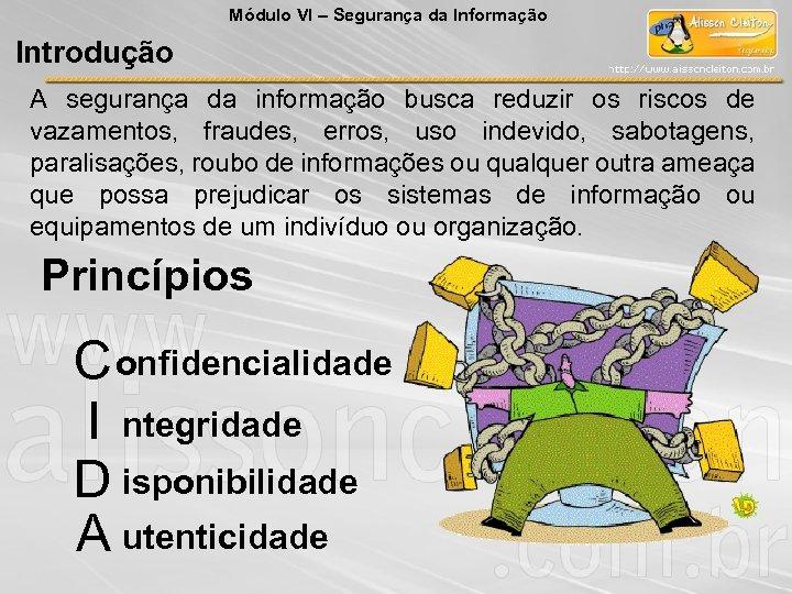 Módulo VI – Segurança da Informação Introdução A segurança da informação busca reduzir os