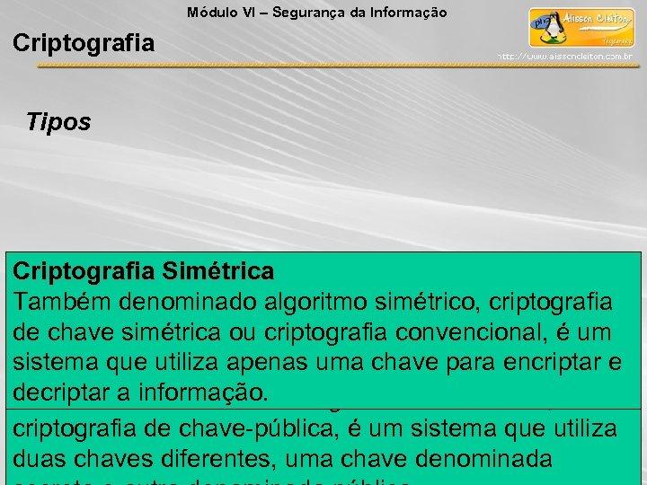 Módulo VI – Segurança da Informação Criptografia Tipos Criptografia Simétrica Também denominado algoritmo simétrico,