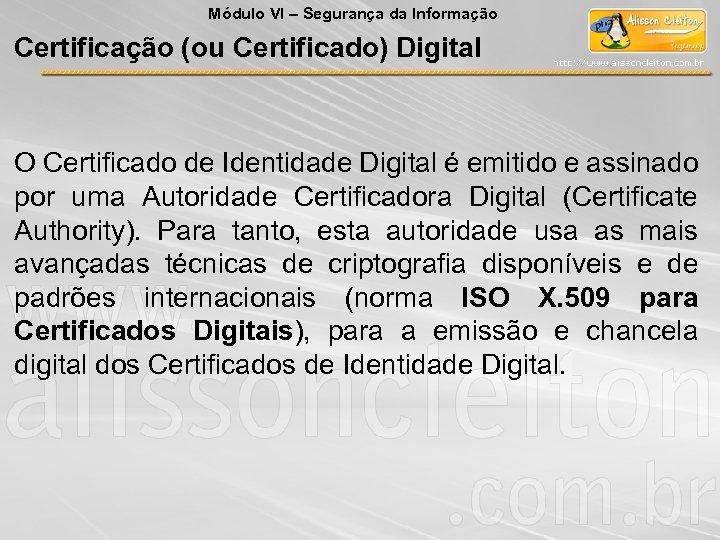 Módulo VI – Segurança da Informação Certificação (ou Certificado) Digital O Certificado de Identidade