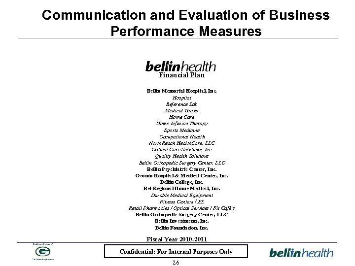 Communication and Evaluation of Business Performance Measures Financial Plan Bellin Memorial Hospital, Inc. Hospital