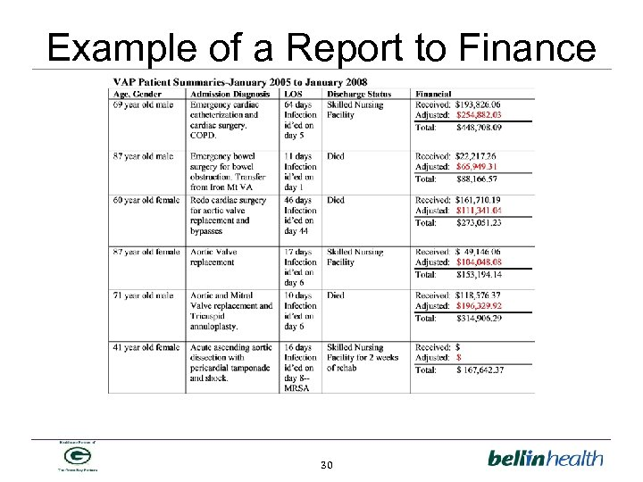 Example of a Report to Finance 30
