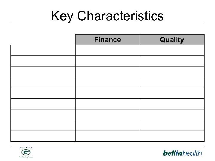 Key Characteristics Finance Quality