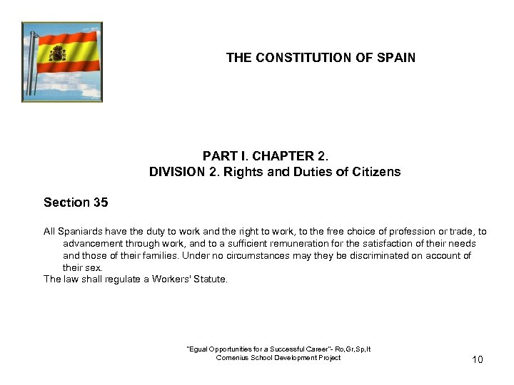 THE CONSTITUTION OF SPAIN PART I. CHAPTER 2. DIVISION 2. Rights and Duties of