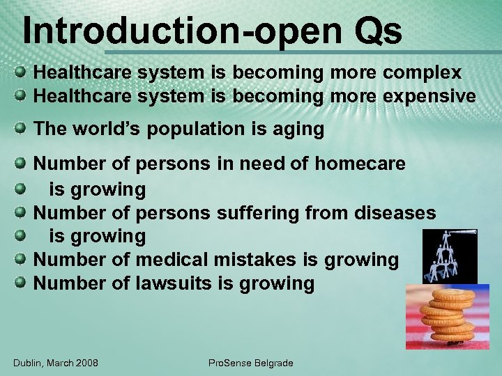 Introduction-open Qs Healthcare system is becoming more complex Healthcare system is becoming more expensive