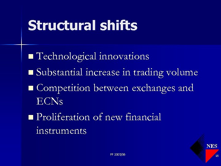 Structural shifts n Technological innovations n Substantial increase in trading volume n Competition between