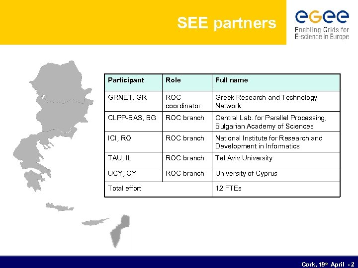 SEE partners Participant Role Full name GRNET, GR ROC coordinator Greek Research and Technology