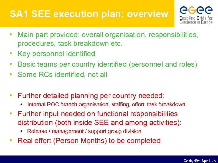 SA 1 SEE execution plan: overview • Main part provided: overall organisation, responsibilities, procedures,