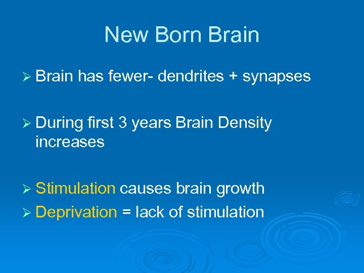 New Born Brain Ø Brain has fewer- dendrites + synapses Ø During first 3