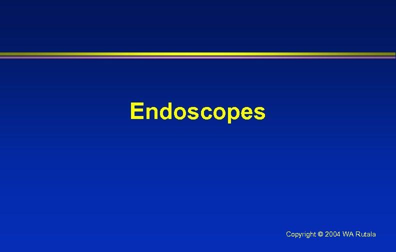 Endoscopes Copyright © 2004 WA Rutala