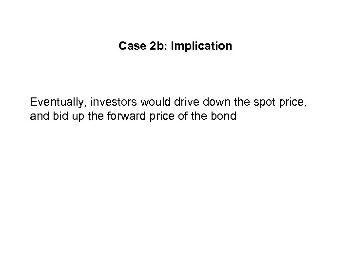 Case 2 b: Implication Eventually, investors would drive down the spot price, and bid