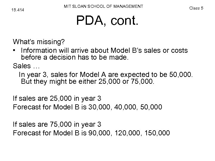 15. 414 MIT SLOAN SCHOOL OF MANAGEMENT Class 5 PDA, cont. What's missing? •