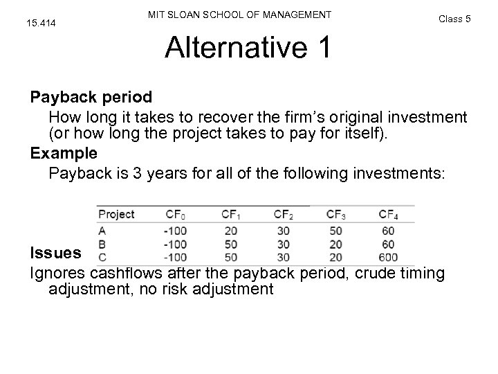 15. 414 MIT SLOAN SCHOOL OF MANAGEMENT Class 5 Alternative 1 Payback period How