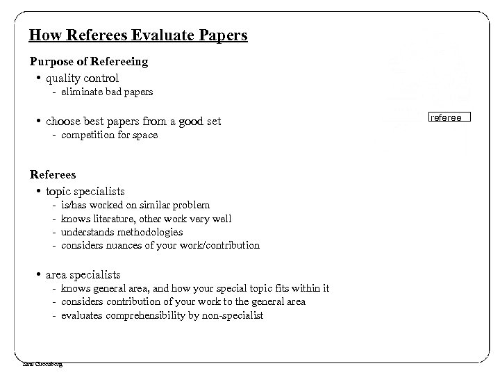 How Referees Evaluate Papers Purpose of Refereeing • quality control - eliminate bad papers
