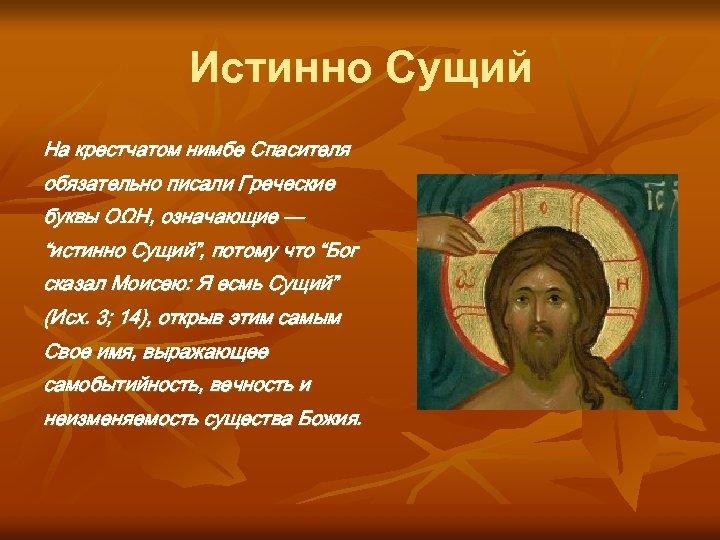 """Истинно Сущий На крестчатом нимбе Спасителя обязательно писали Греческие буквы ОΩН, означающие — """"истинно"""