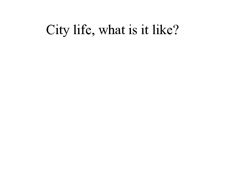 City life, what is it like?