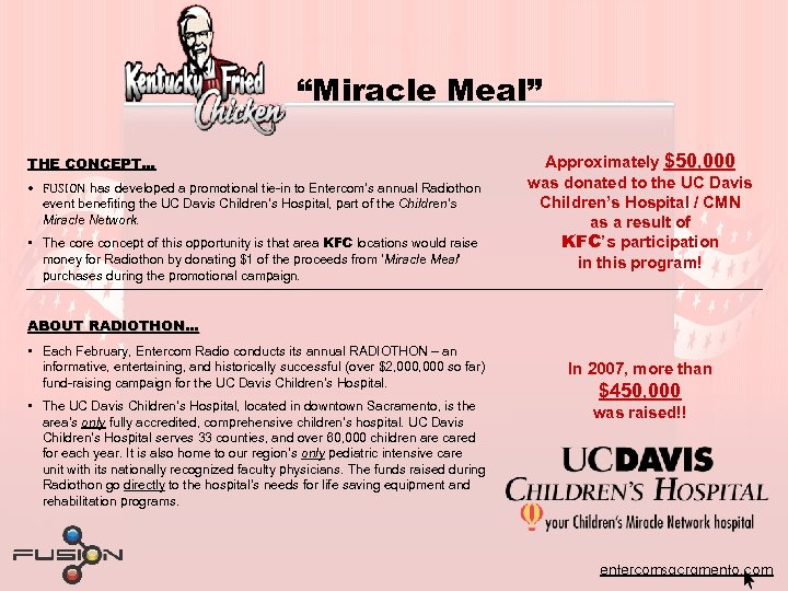 """""""Miracle Meal"""" THE CONCEPT… • FUSION has developed a promotional tie-in to Entercom's annual"""