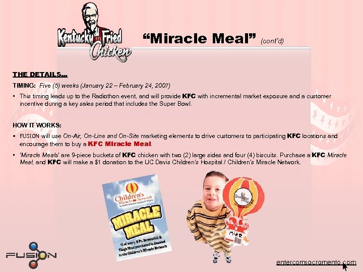 """""""Miracle Meal"""" (cont'd) THE DETAILS… TIMING: Five (5) weeks (January 22 – February 24,"""