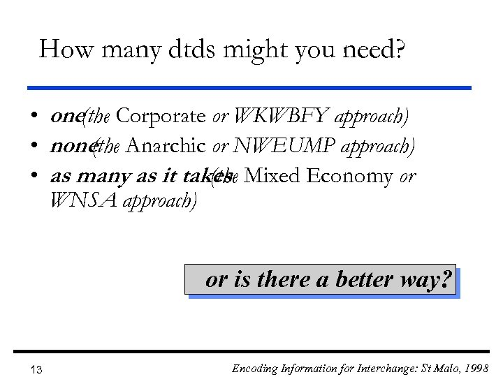 How many dtds might you need? • one(the Corporate or WKWBFY approach) • none