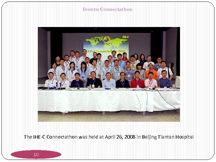 Events: Connectathon The IHE-C Connectathon was held at April 26, 2008 in Beijing Tiantan