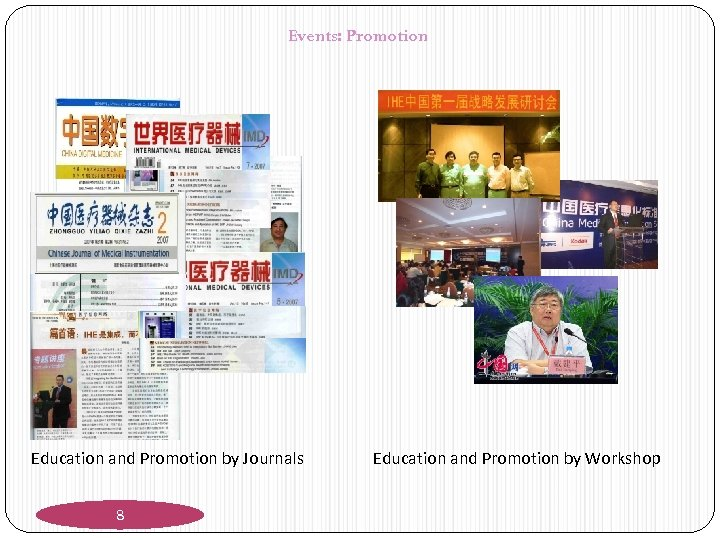 Events: Promotion Education and Promotion by Journals 8 Education and Promotion by Workshop