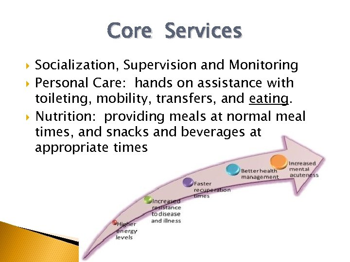 Core Services Socialization, Supervision and Monitoring Personal Care: hands on assistance with toileting, mobility,
