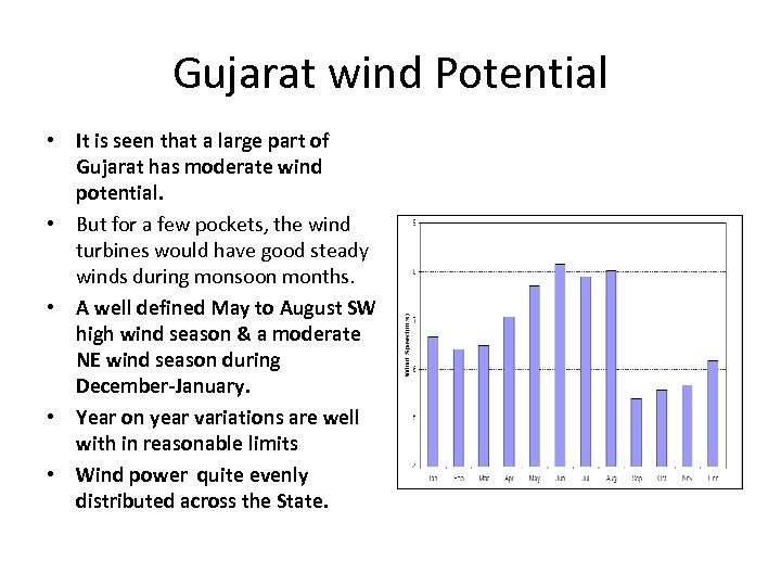 Gujarat wind Potential • It is seen that a large part of Gujarat has