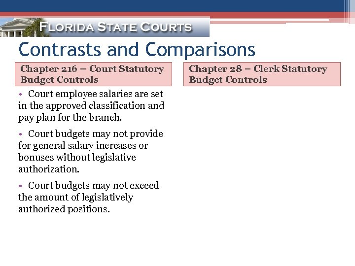 Contrasts and Comparisons Chapter 216 – Court Statutory Budget Controls • Court employee salaries