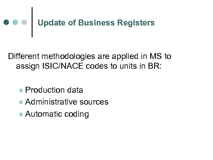 Update of Business Registers Different methodologies are applied in MS to assign ISIC/NACE codes