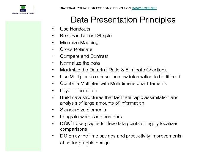 NATIONAL COUNCIL ON ECONOMIC EDUCATION WWW. NCEE. NET Data Presentation Principles • • •