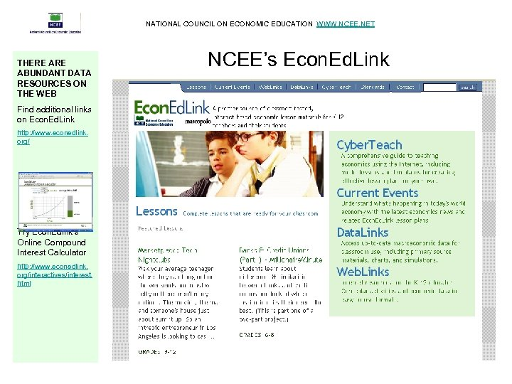 NATIONAL COUNCIL ON ECONOMIC EDUCATION WWW. NCEE. NET THERE ABUNDANT DATA RESOURCES ON THE