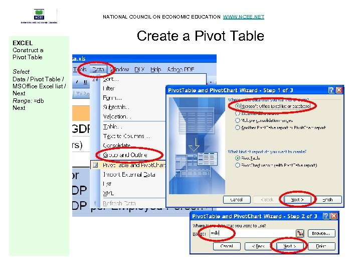 NATIONAL COUNCIL ON ECONOMIC EDUCATION WWW. NCEE. NET EXCEL Construct a Pivot Table Select