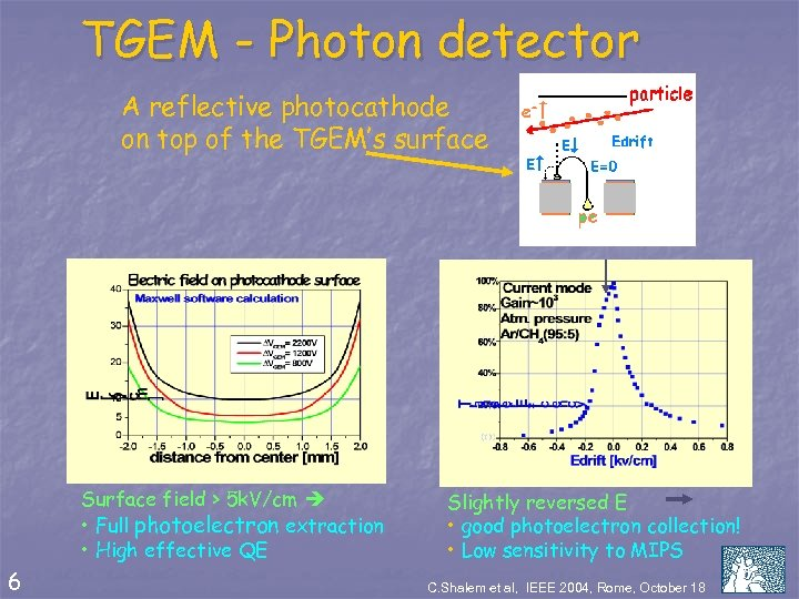 TGEM - Photon detector A reflective photocathode on top of the TGEM's surface Surface