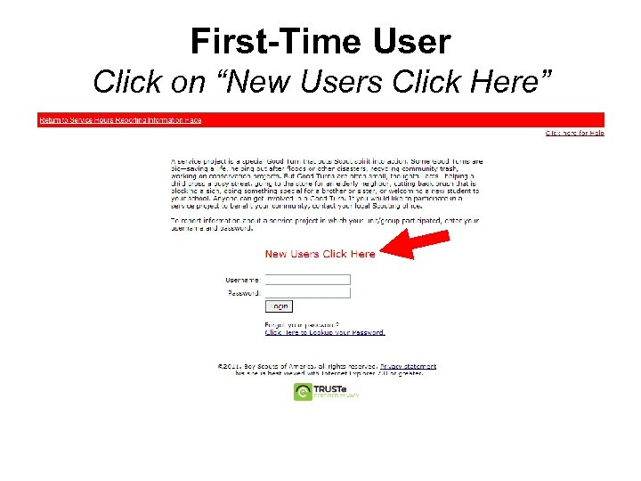 """First-Time User Click on """"New Users Click Here"""""""