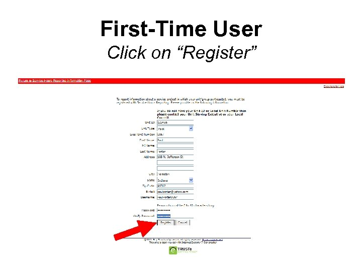 """First-Time User Click on """"Register"""""""