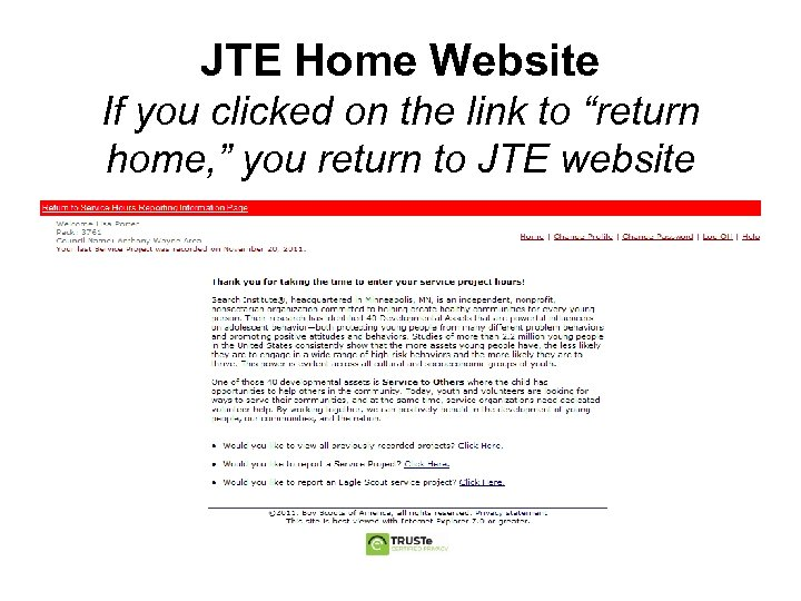 """JTE Home Website If you clicked on the link to """"return home, """" you"""