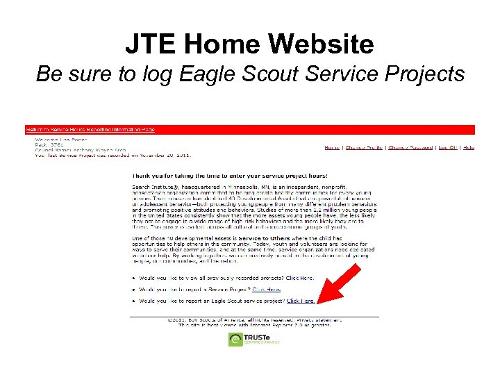 JTE Home Website Be sure to log Eagle Scout Service Projects