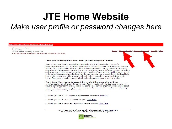JTE Home Website Make user profile or password changes here