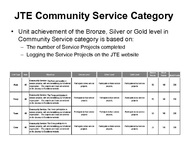 JTE Community Service Category • Unit achievement of the Bronze, Silver or Gold level