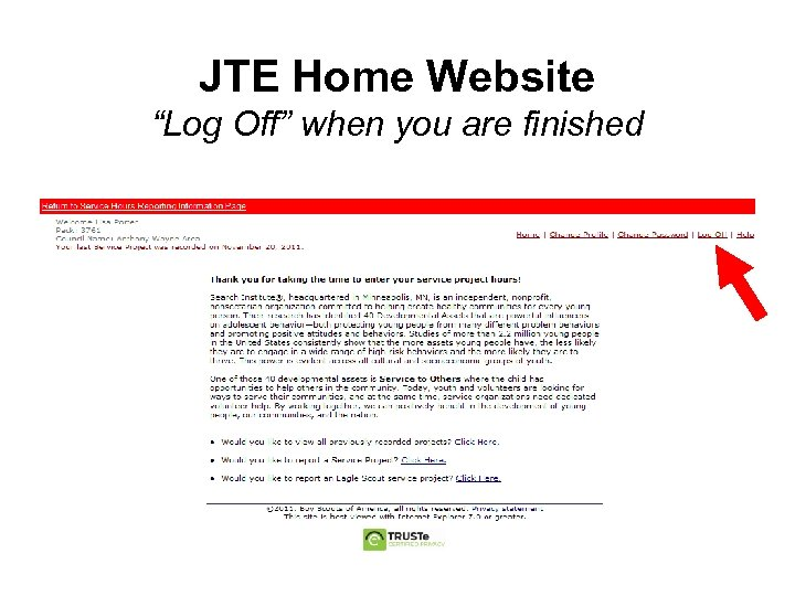 """JTE Home Website """"Log Off"""" when you are finished"""